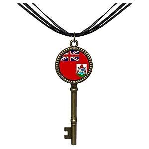 Chicforest Bronze Retro Style Bermuda flag Jewelry Vintage Key Pendant