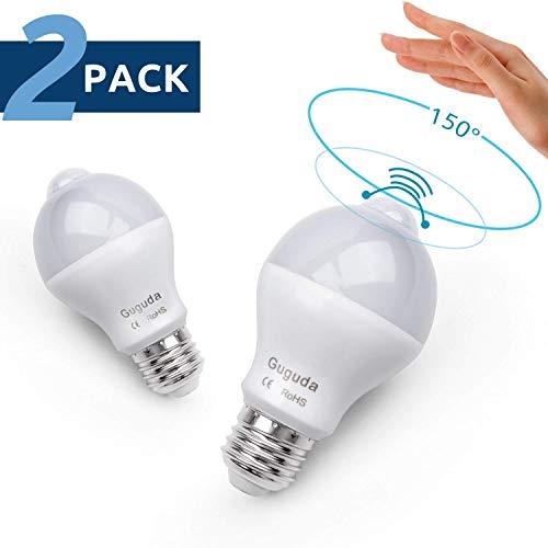 Motion Sensor Light Bulb, Guguda 7W PIR Motion Detector Light Bulbs Infrared Dusk to Dawn LED Light Bulbs for Basement Garage Carport E26/E27 (Warm)