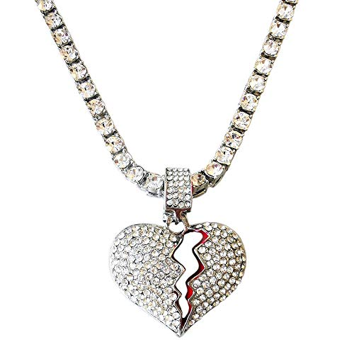 HH Bling Empire Unisex Bling Iced Out Cubic Zirconia Diamond Broken Heart Pendant Chain Necklace 24 Inch (Alloy-Silver & Tennis Chain)