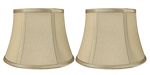 Urbanest Set of 2 Softback 7-inch by 10-inch by 7-inch Faux Silk Bell Lamp Shade, Golden Taupe, Spider Washer Fitter