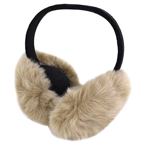 Editha Men Women Faux Fur Earmuff Winter Warm Earcap Foldable Ear Muffs Sport Gym Earmuffs Outdoor Travel Earcaps 1791 Khaki by Editha