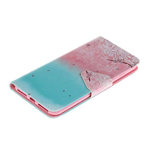 Guran® PU Leder Tasche für iPhone 7 Plus (5.5 Zoll) Smartphone Flip Deckung Stehen Funktion und Karte Slot Case-kirsche blume