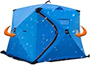 Portable Foldable Ice Fishing Shelter-Large Space for 3/4 Persons Ice Fishing Pop-Up Tent,Add 5 Layers Cotton