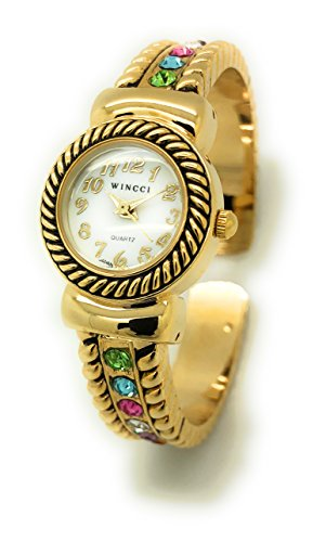 Ladies Rhinestones Elegant Metal Bangle Cuff Fashion Watch Pearl Dial Wincci (gold (Pearl Dial Bangle Watch)