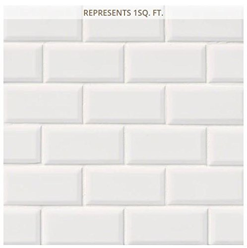 - White Glossy Staggered 12 in. x 12 in. x 6 mm Beveled Porcelain Mosaic Tile (2