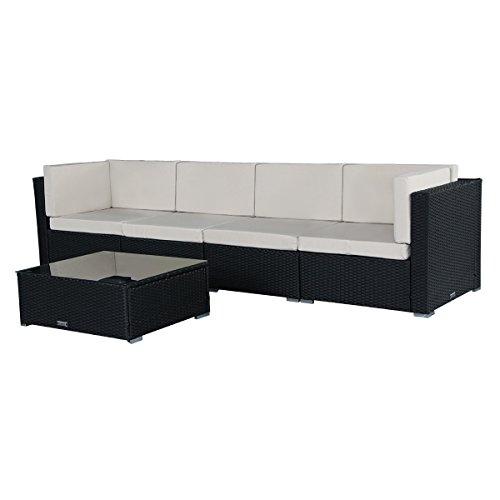 U-MAX 7 Piece 3-14 Pieces Patio PE Rattan Wicker Sofa Sectional Furniture Set (BK-5 Pieces)