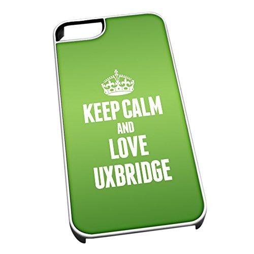 Bianco cover per iPhone 5/5S 0673verde Keep Calm and Love Uxbridge