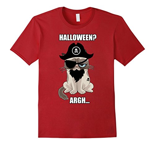 Mens Grumpy Cat Halloween Argh Pirate Costume Graphic T-Shirt 2XL Cranberry for $<!--$19.99-->