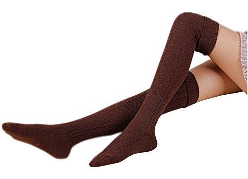 AnVei-Nao Womens Girls Winter Over Knee Leg Warmer Knit Crochet Socks Leggings Coffee