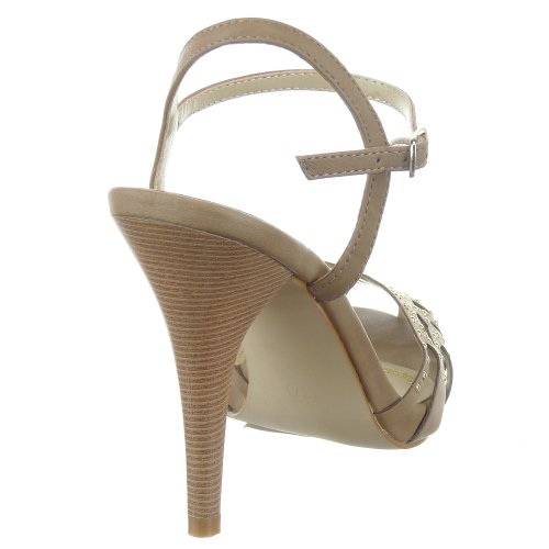 Sopily - damen Mode Schuhe Pumpe Stiletto besetzt Sternen Strass - Khaki
