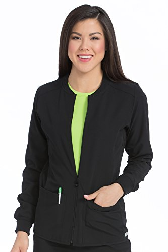 Med Couture Women's 'Air Collection' Zip Front Air Touch Warm Up Scrub Jacket, Black/Apple, Small (Scrub Zip Front Jacket)