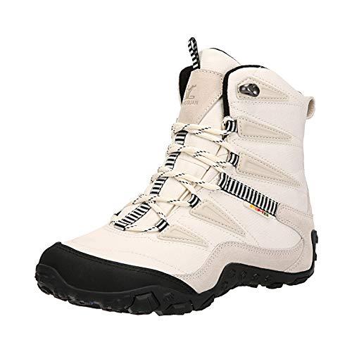 XIANG GUAN Men's Outdoor High-Top Waterproof Winter Snow Boots Warm Suede Lightweight Hiking Boots White 11