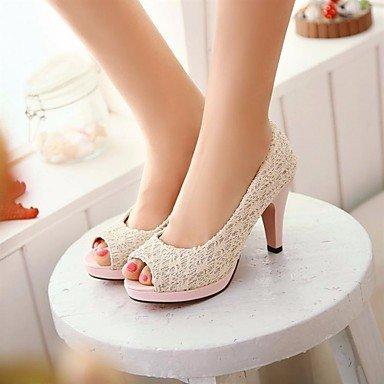 pwne Tacones mujer Primavera Club zapatos casual PU Chunky talón Beige Rojo Negro Blanco Beige US4-4.5 / UE34 / REINO UNIDO2-2.5 / CN33