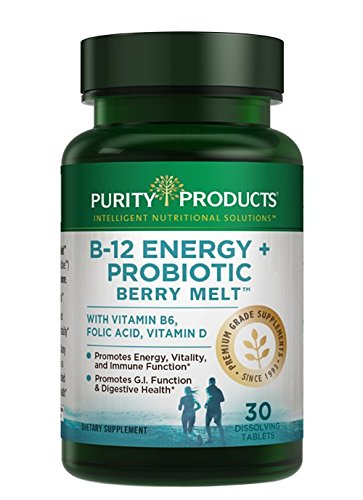 B-12 Energy Berry Melts + Probiotics | ProDura Clinical Probiotic to Promote Gastrointestinal (GI) Function & Digestive Health | 30 Quick Dissolving Melts | Purity Products