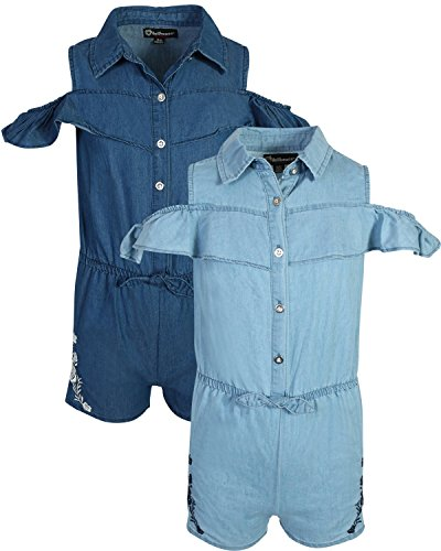 dollhouse Girl\'s Spring/Summer Denim Romper (2 Pack), Cold Shoulder, Size 7/8'