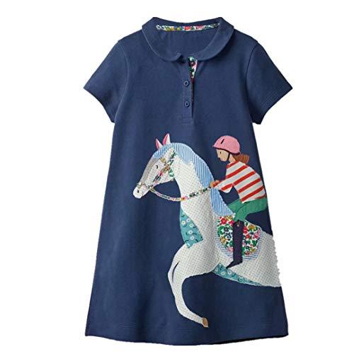 Jobakids Toddler Girls Cute Animal Print Short Sleeve Casual Summer Applique Baby Children Tunic Dress Shirt(Riding ()