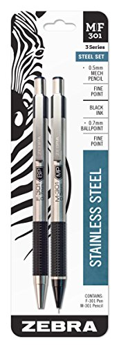 Zebra M/F 301 Stainless Steel Mechanical Pencil and Ballpoint Pen Set, Fine Point, 0.5mm HB Lead Pencil and 0.7mm Black Ink Pen, ()