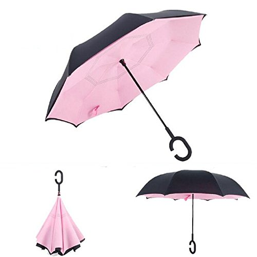 Autonorth Kreative Flip Regenschirm Doppelte Golfschirm Doppelte UV Schutz Sonnenschirme umkehren Auto Regenschirm Wasserdicht und winddicht - rose