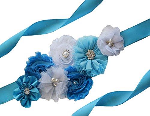 Wedding Bridal Belt Sash Maternity Flower Sash Floral Belt for Dress PTK16-A (Blue)