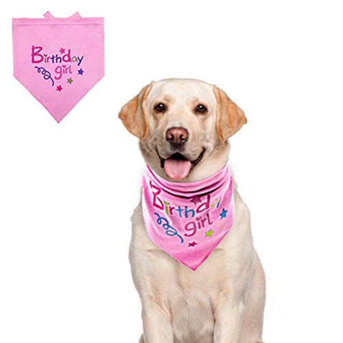 BINGPET Dog Birthday Bandana Pet Scarf Light Pink