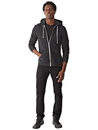 Alternative Men\'s Rocky Zip Hoodie Sweatshirt, Eco True Black, Medium