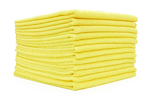 - (12-Pack) 12 in. x 12 in. Commercial Grade All-Purpose Microfiber Highly Absorbent, LINT-Free, Streak-Free Cleaning Towels - THE RAG COMPANY (Yellow)