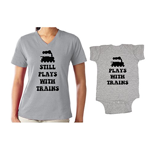 We Match! Plays with Trains & Still Plays with Trains Matching Women's V-Neck T-Shirt & Baby Bodysuit Set (24M Bodysuit, Women's V-Neck Large, Sport Grey) ()