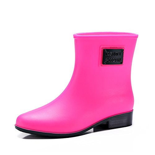 Womens Rubber Welly Shoes Rain Boots Garden Rain Snow Outdoor PVC waterproof shoes rose red vlbbiT1p