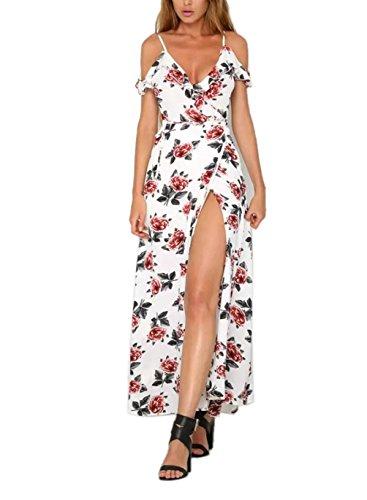FFLMYUHULIU Women's Sexy Split Floral Off-shoulder Beach Party Maxi Dress(C2604-Pink,M)