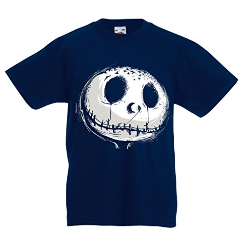 lepni.me N4434K Kids T-Shirt Scary Moon (7-8 Years Dark Blue Multicolor) -
