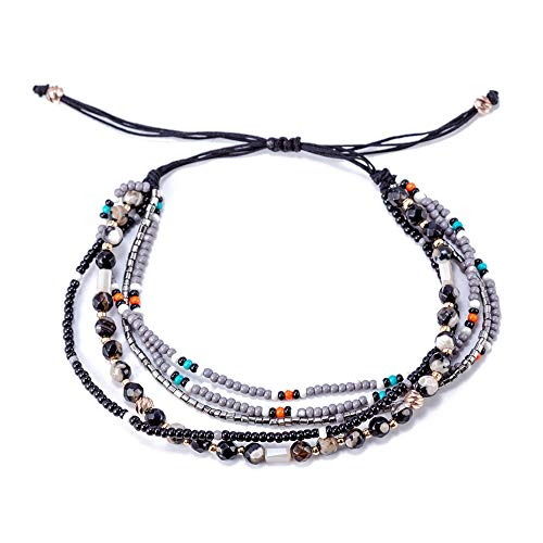 TOMLEE Multilayers Hand-Woven Colorful Beaded Chain Wrap Bracelet Adjustable Handmade String Braided Stretch Knot Crystal Beads Bracelets (Black Beads)