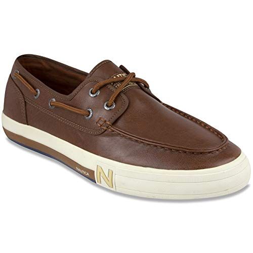 Nautica Men's Spinnaker Lace-Up Boat Shoe, Casual Loafer, Fashion Sneaker-Ginger Smooth-10.5