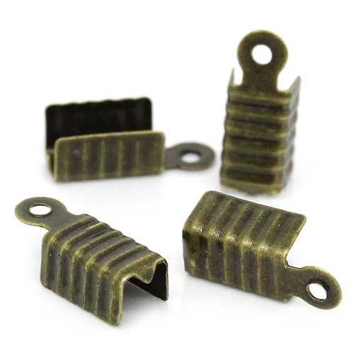 Rockin Beads Brand, 1000 Fold Over Cord Tip/ends Crimps Antiqued Brass, 12x5mm Approx 1000 ()