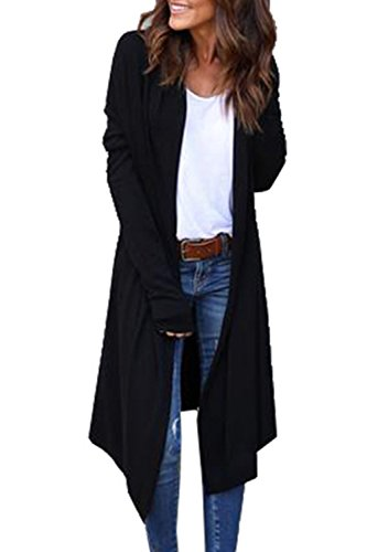 Abierto Casual negro Otoño De Cardigan Capa Externa Frente Manga De Maxi Chaqueta Mujer La Larga Oq54pxF