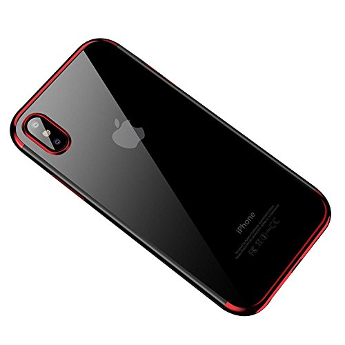 HONTECH Compatible iPhone Xs Max 2018 Case, Ultra-Thin Clear Soft TPU Plating Shockproof Protective Cover 6.5 inch (Red#1)