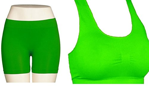 b61cec68d69 NEON GREEN - Seamless Racerback Sports Bra Exercise Yoga Fitness Top Non- Padded + GREEN
