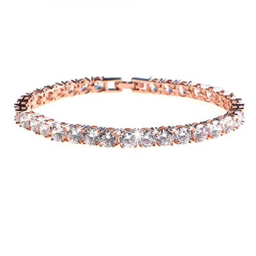 Bracelets Gemstone Tennis Gold (ASHMITA Tennis Crystal Bracelet for Women Charm Men Rose Gold Zirconia Bracelets Gift Jewelry)