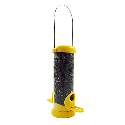 Droll Yankees BL8YS Bird Lovers 8-Inch Sunflower/ Mixed Seed Feeder with Yellow Accents