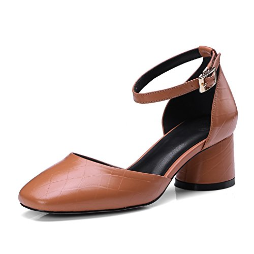 DIU00607 Closed Heels AN Toe Brown Sandals Kitten Womens Urethane Sandals Ezqrgr8