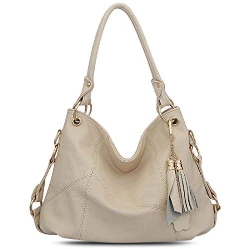 Shoulder Satchel Large (Vintga Genuine Leather Tote Bag Top Handle Satchel Handbag Tassel Shoulder Bag Large Purse Crossbody Bag for Women (Off White))