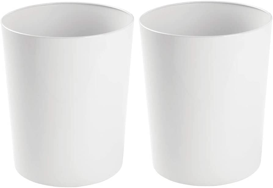 mDesign Round Metal Small Trash Can Wastebasket, Garbage Container Bin for Bathrooms, Powder Rooms, Kitchens, Home Offices - Durable Steel, 2 Pack - White