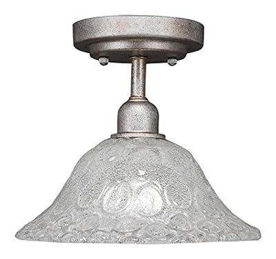 "Toltec Lighting Vintage 1 Bulb Semi-Flush with 10"" Italian Bubble Glass"