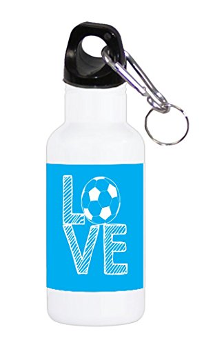 Love Soccer Stacked Blue with White Letters 20 ounce Stainless Water Bottle by Moonlight Printing
