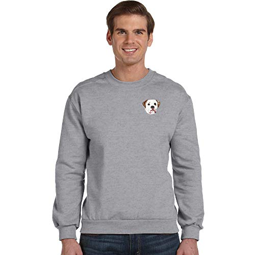 Cherrybrook Breed Embroidered Anvil Mens Crew Sweatshirt - Small - Heather Gray - American Bulldog