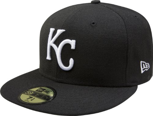 MLB Kansas City Royals Black with White 59FIFTY Fitted Cap, 7