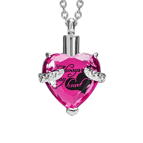 SmartChoice Keepsake Rhinestone Necklace Heart Pendant for Cremation Ashes with Beautiful Presentation Gift Box, Elegant Memorial Jewelry with Stainless Chain and Accessories (Tourmaline/October)