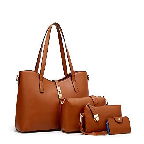 YTL Women Fashion Synthetic Leather Handbags+Shoulder Bag+Purse+Card Holder 4pcs Set Tote