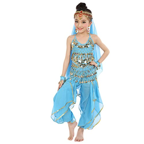Precious Little Pirate Toddler And Girls Costumes (Elevin(TM)Children Girl Sleeveless Belly Dance Costumes Indian Dancewear Highlights Top Pants Outfit (S, Light Blue))