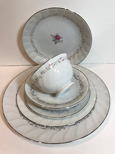 Fine China Japan Bread Plate - Royal Swirl Fine China Of Japan 7 Piece Place Setting Pink Flowers & Rose w/ Gray Scrolls Service For 1
