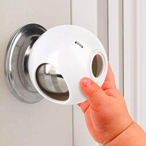 Door Knob Safety Cover for Kids (4 Pack) New Shape & Structure Design Child Door Knob Covers Prevent Children from Opening Doors Baby Safety Door Knob Locks Fit Most Knobs